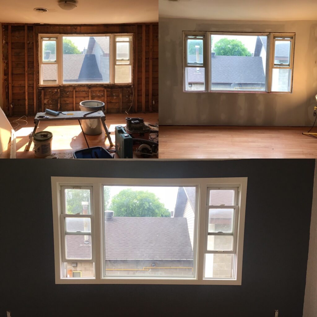 Drywall and window trim painting - before and after