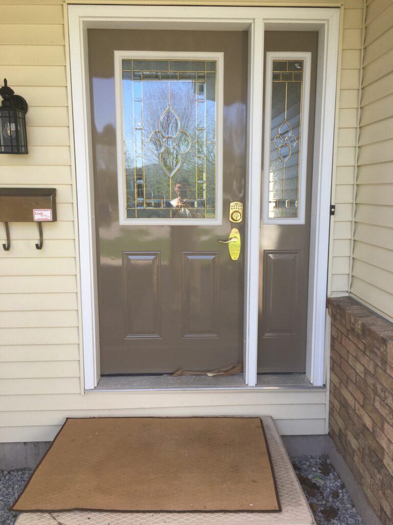 Freshly sprayed door